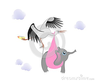 Stork with baby elephant