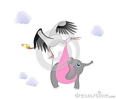 Stork with baby elephant