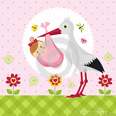 Stork with a baby girl in a bag