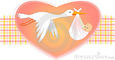 Stork with Baby Girl/eps