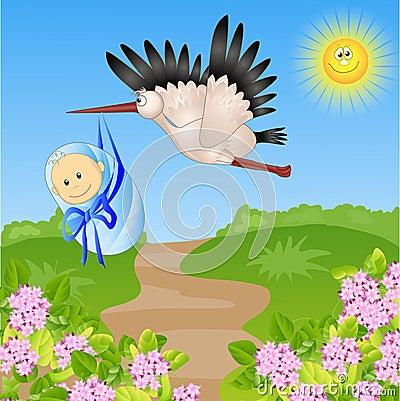Stork bears the child