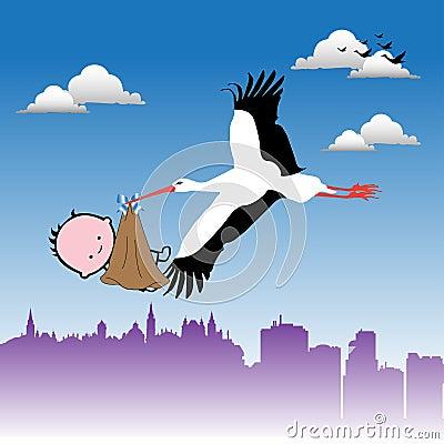 Stork bringing a baby