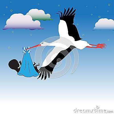 Stork bringing the baby