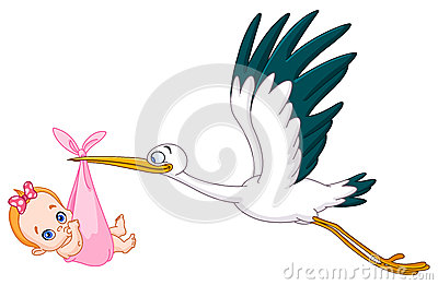 Stork and baby girl