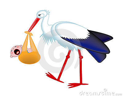 Stork delivering a crying baby