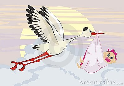 Stork delivering a newborn baby