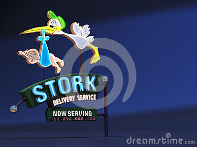 Stork Delivery Neon Sign