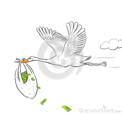 Stork Flying With Money