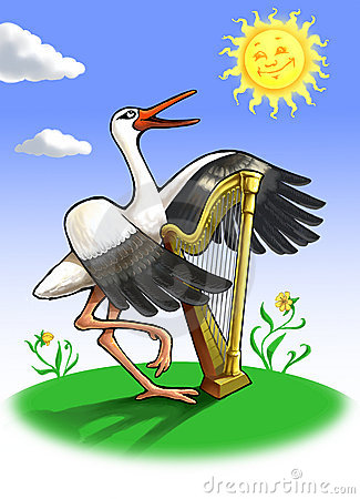 Stork with a harp