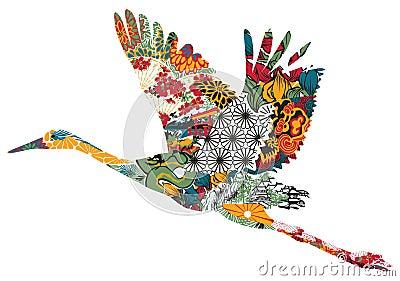 Stork in Japanese ornament