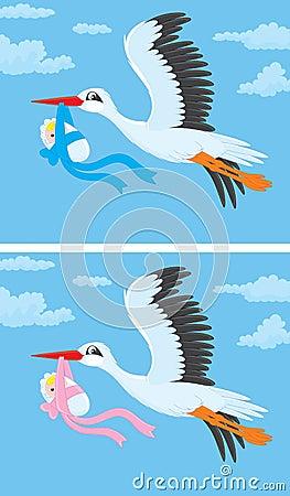 Stork with a newborn baby