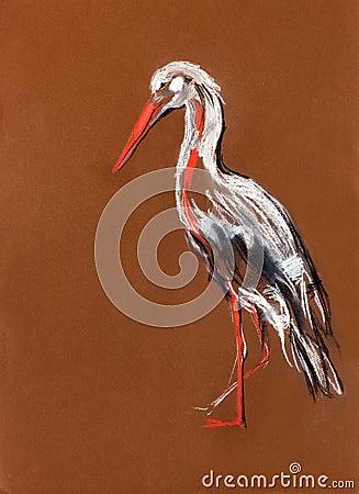 Stork painting