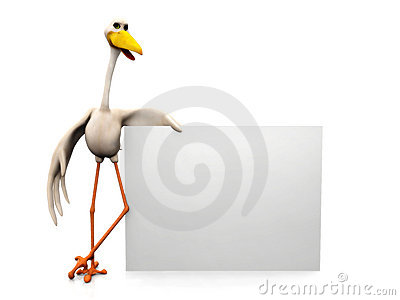 Stork with sign