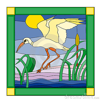 Stork in a stained glass