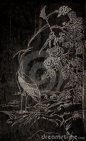 Free Stork Stone Engraving Royalty Free Stock Image - 5790876