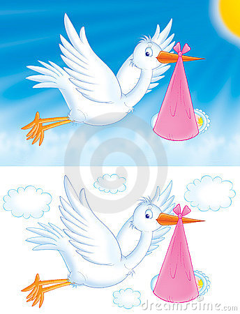 Free Stork With Baby Royalty Free Stock Images - 833879