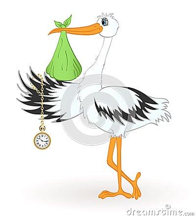 Free Stork With Newborn Baby Royalty Free Stock Photo - 14515925
