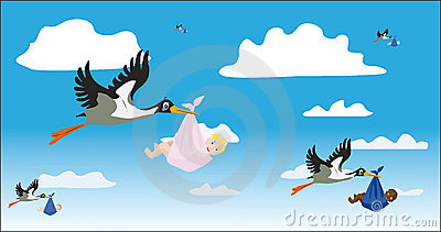 Storks with children