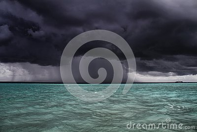 Storm approaches boat, Maldives