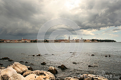 Storm approaching Porec (Parenzo) old town in Istria, Croatia