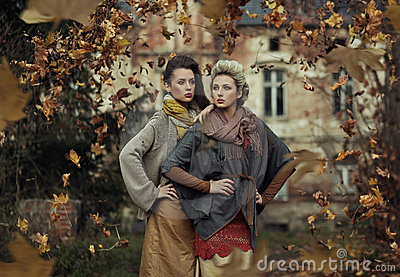 Storm of autumn leaves