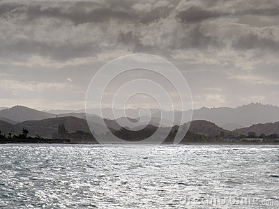 Storm brewing at Tolaga Bay coast North Island NZ