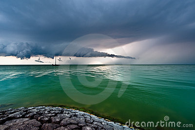 A storm cloud approaching on the IJsselmeer