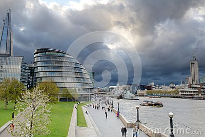 Storm clouds gather over City Hall, London, UK Editorial Image