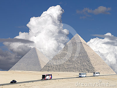 Storm clouds over the Great Pyramids.