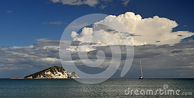 Storm clouds over the island
