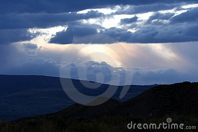 Storm clouds over mountains