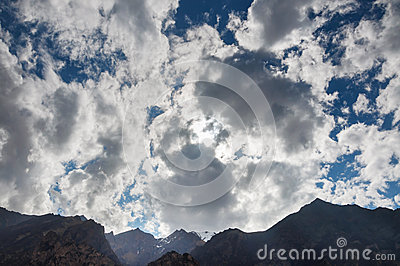 The storm clouds over the mountains
