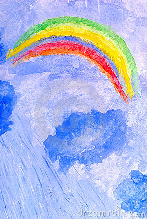 Storm, clouds, rain and rainbows. watercolor