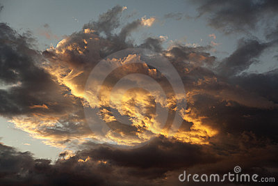 Storm clouds at sunset