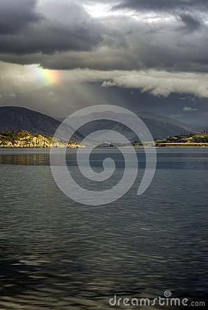 Free Storm Clouds With Rainbow, Loch Broom, Highlands, Ullapool. Highlands, Scotland Stock Photos - 32369833