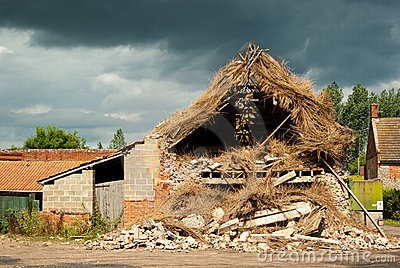 Storm damaged thatch
