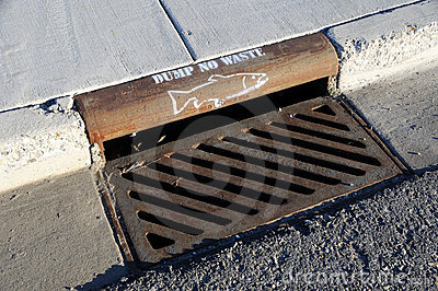 Storm Drain Waste Dumping Warning