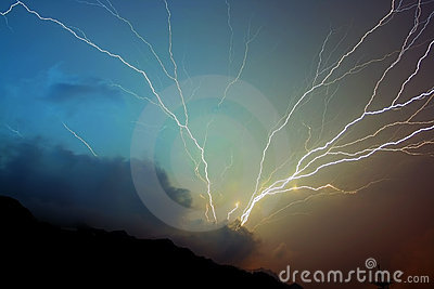 Storm lightning strikes