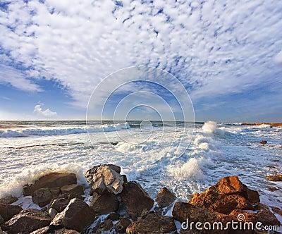 Storm on Mediterranean sea