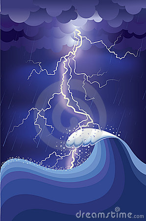 Storm in ocean with lightning strikes and rain.