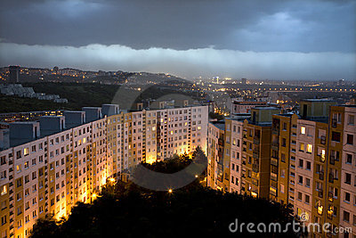 Storm over evening Bratislava habitation