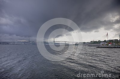 Storm over harbour bridge