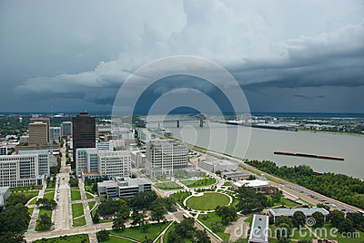 Storm over Mississippi River