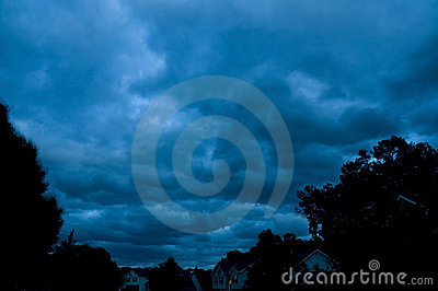 Storm over a neighborhood