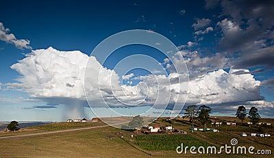Storm over rural village