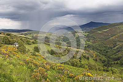 Storm passing by the mountains near O Cebreiro