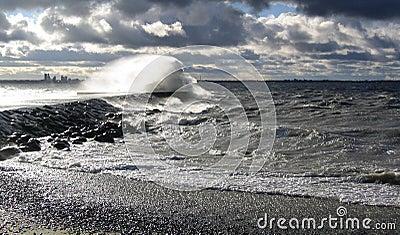 Storm by the sea in Tallinn, Estonia