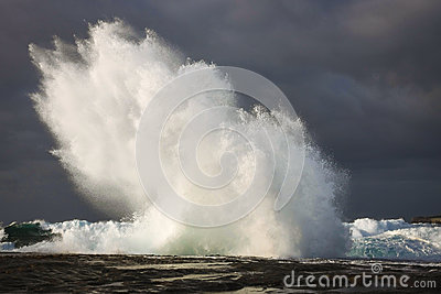 Storm seas and wave explosion