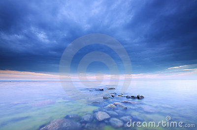 Stormclouds approaching, ocean photo