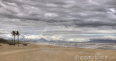 Stormy beach in HDR